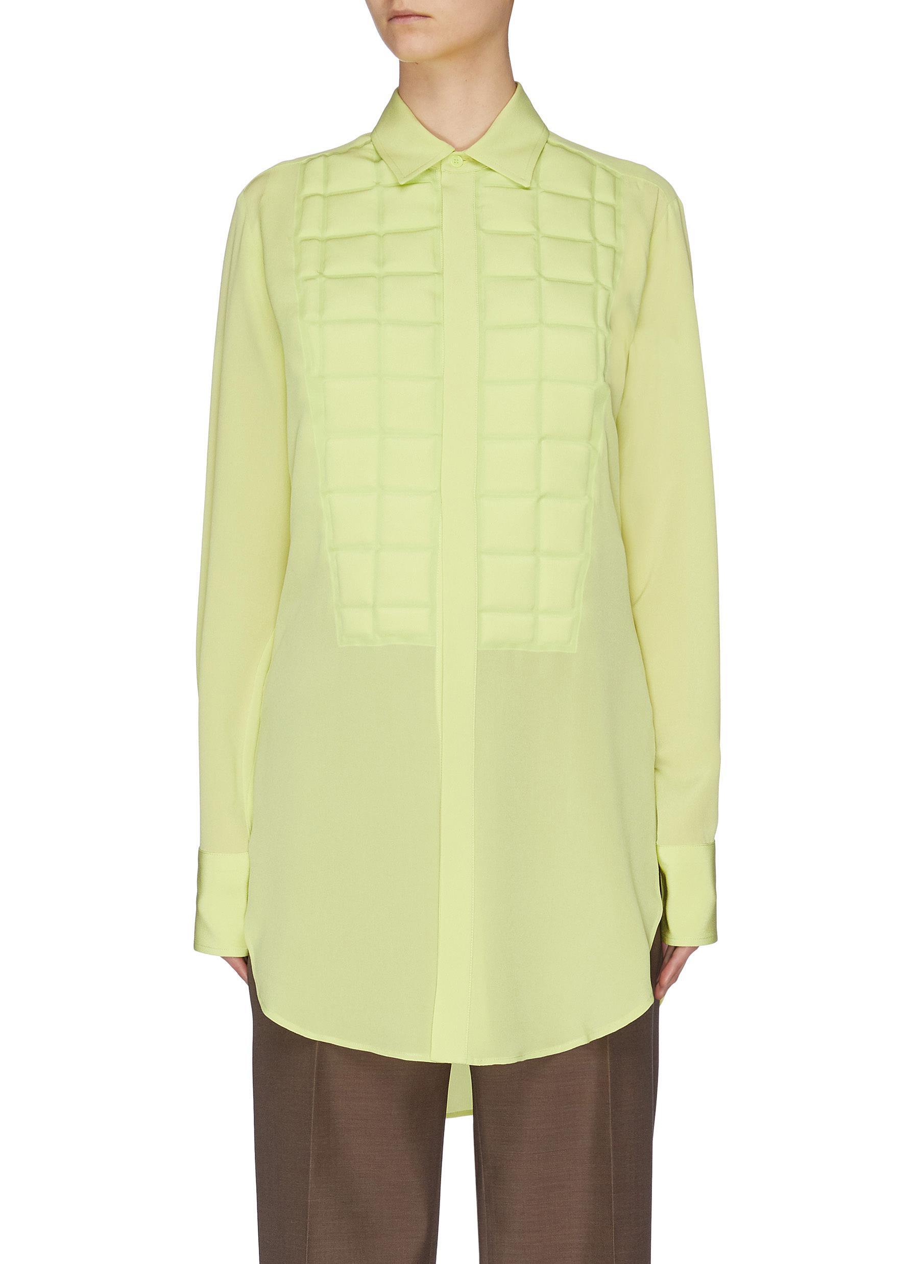 shop Bottega Veneta Mold bib crepe de chine silk shirt online
