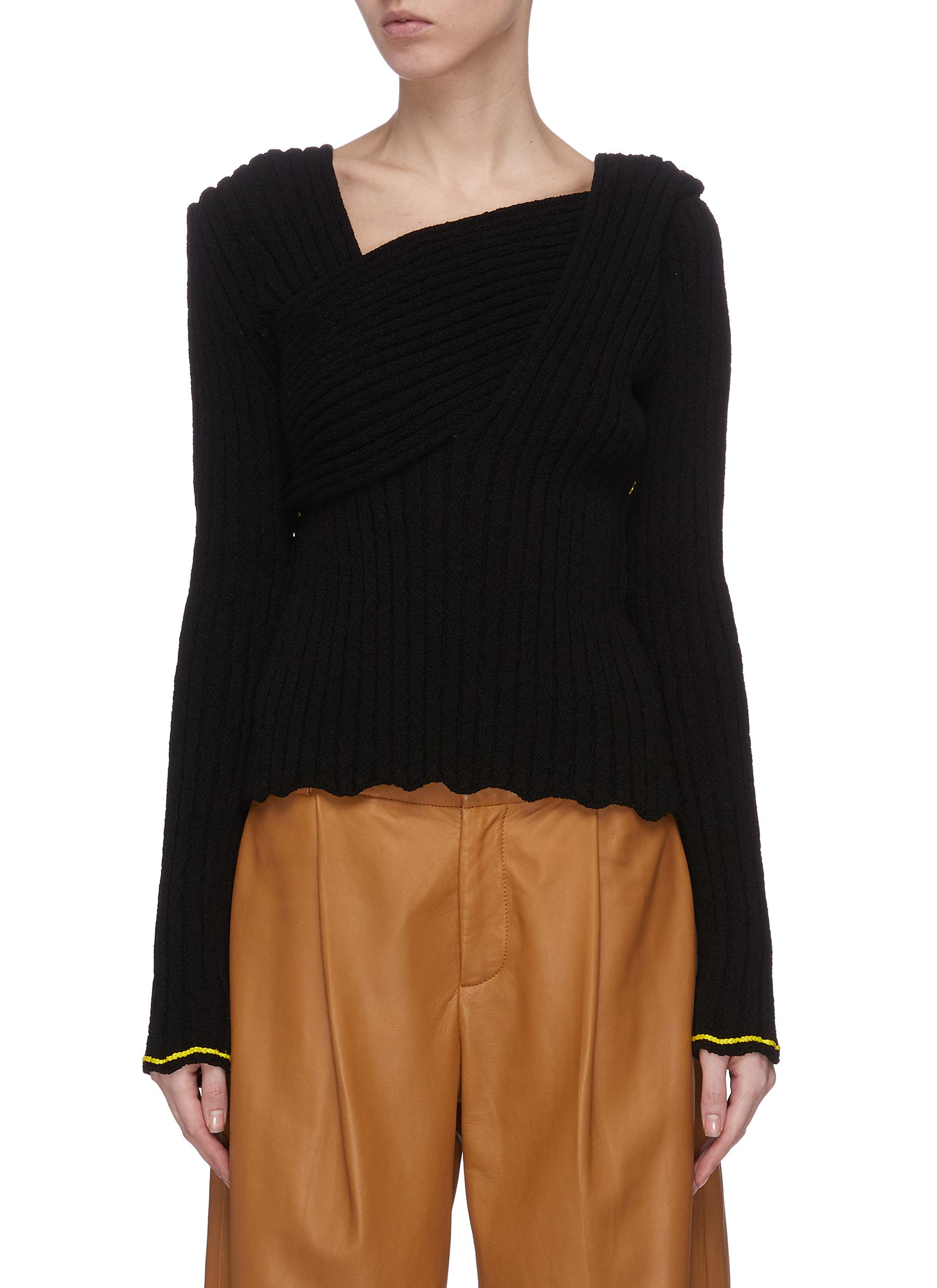 shop Bottega Veneta 'Lemon' wrap front sweater online