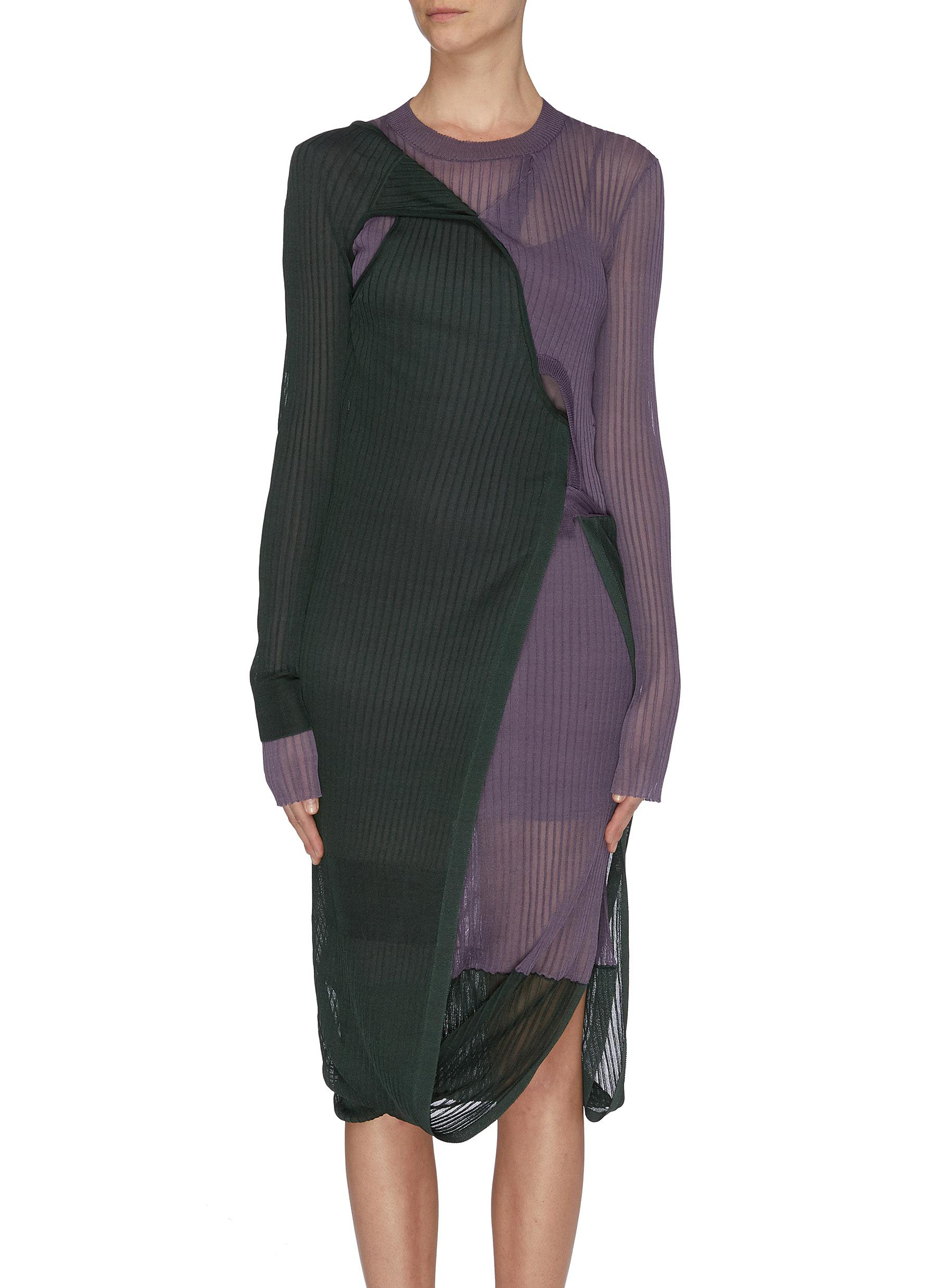 shop Bottega Veneta Bicolour sheer rib knit dress online