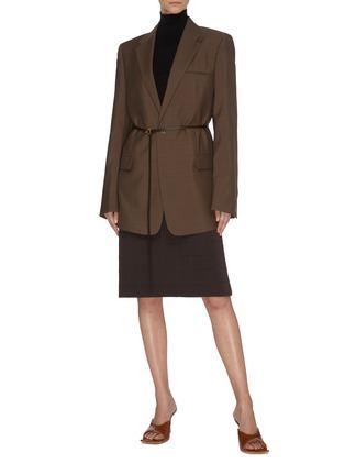 Figure View - Click To Enlarge - BOTTEGA VENETA - Mold pencil midi skirt