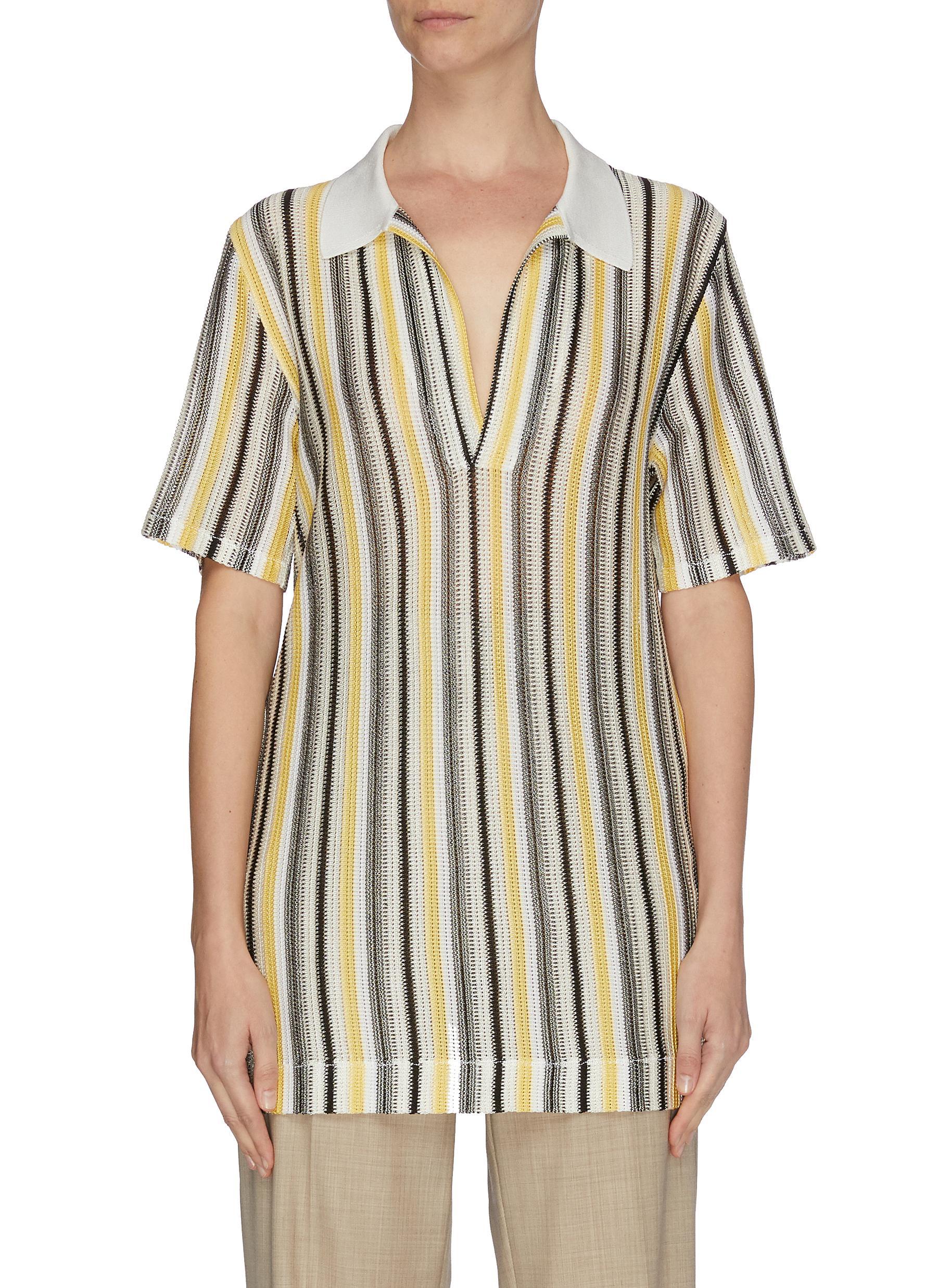shop Bottega Veneta Multi colour stripe polo shirt online
