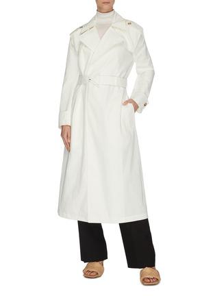 Figure View - Click To Enlarge - BOTTEGA VENETA - V buckle cotton trench coat