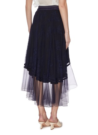 Back View - Click To Enlarge - CHLOÉ - 'Chanti' lace overlay ruffle skirt