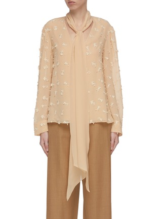 Main View - Click To Enlarge - CHLOÉ - Guipure embroidered necktie blouse