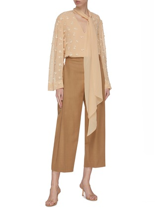 Figure View - Click To Enlarge - CHLOÉ - Guipure embroidered necktie blouse