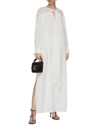 Figure View - Click To Enlarge - CHLOÉ - Neck tie silk maxi dress