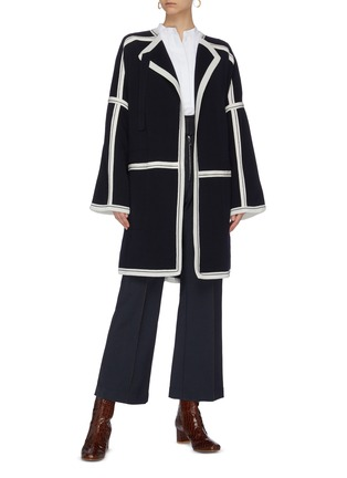 Figure View - Click To Enlarge - CHLOÉ - Contrast paneled raglan knit cardigan