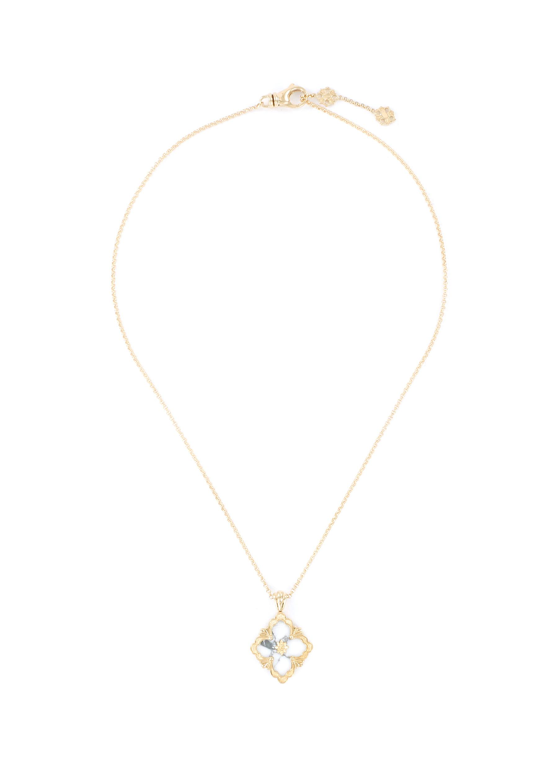 'Opera Color' howlite yellow gold necklace