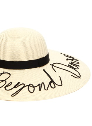 Detail View - Click To Enlarge - EUGENIA KIM - 'Bunny' slogan embroidered straw hat