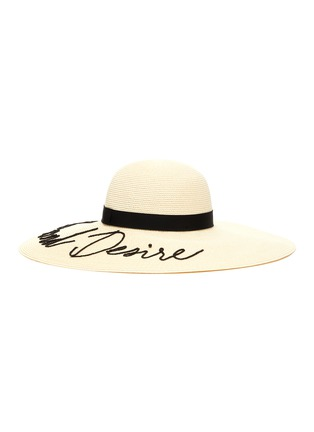 Figure View - Click To Enlarge - EUGENIA KIM - 'Bunny' slogan embroidered straw hat