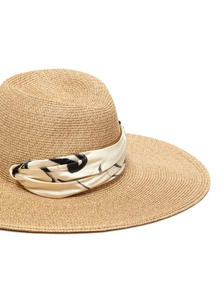 Detail View - Click To Enlarge - EUGENIA KIM - 'Cassidy' printed satin pull through scarf straw hat