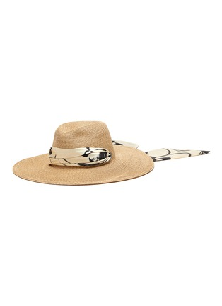 Main View - Click To Enlarge - EUGENIA KIM - 'Cassidy' printed satin pull through scarf straw hat