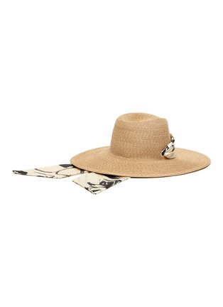 Figure View - Click To Enlarge - EUGENIA KIM - 'Cassidy' printed satin pull through scarf straw hat