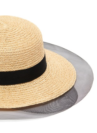 Detail View - Click To Enlarge - EUGENIA KIM - 'Brigitte' horsehair edge ribbon band straw boater