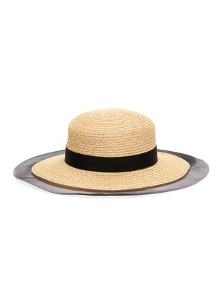 Main View - Click To Enlarge - EUGENIA KIM - 'Brigitte' horsehair edge ribbon band straw boater