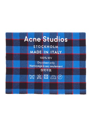 Detail View - Click To Enlarge - ACNE STUDIOS - Slogan print check scarf