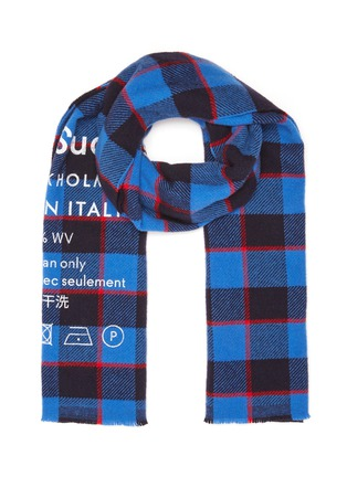 Main View - Click To Enlarge - ACNE STUDIOS - Slogan print check scarf