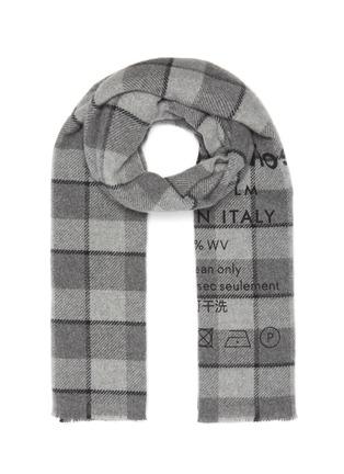 Main View - Click To Enlarge - ACNE STUDIOS - Slogan print check scarf