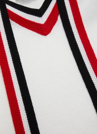 - MONSE - Contrast stripe neck tie off shoulder sweater