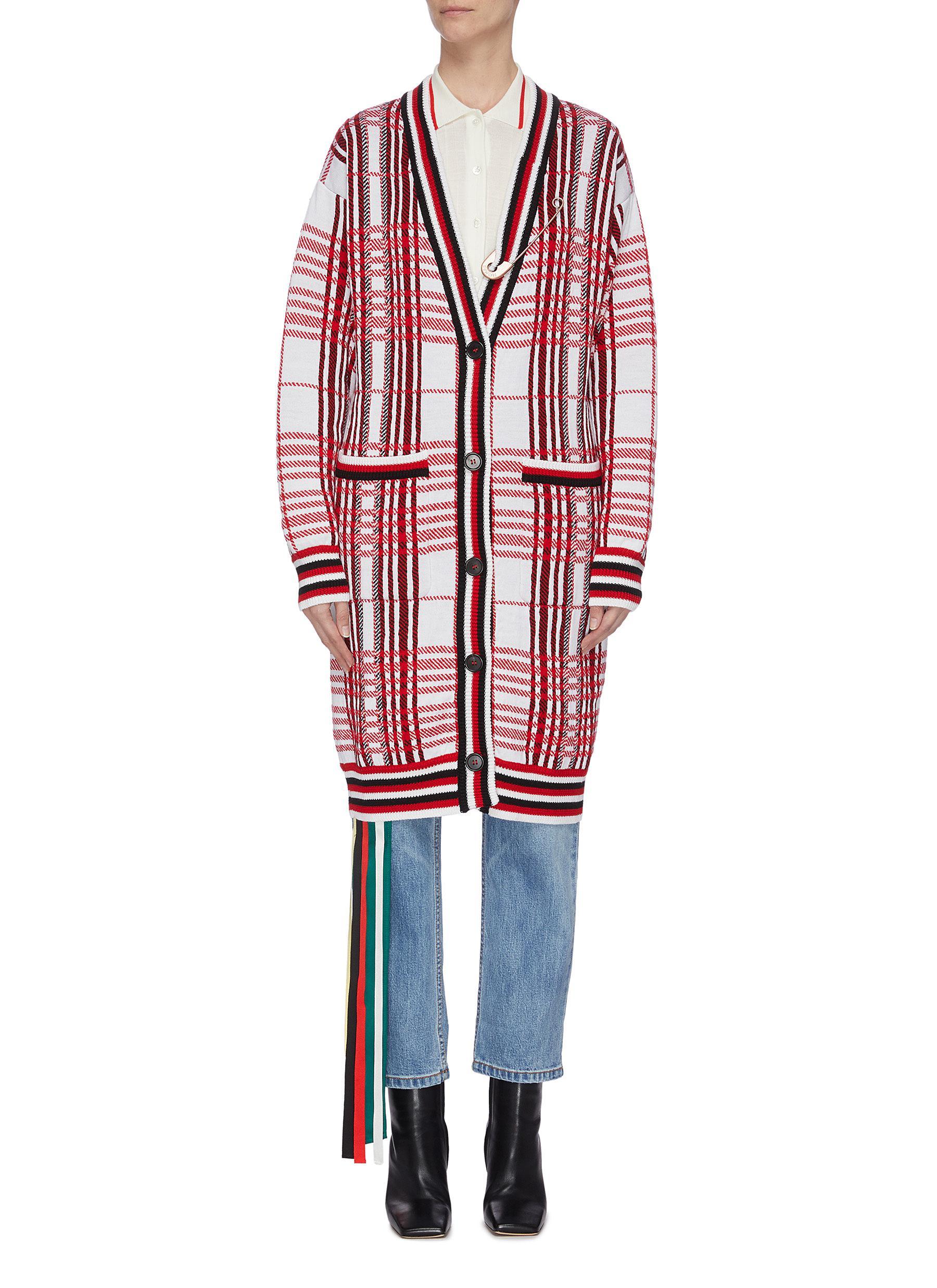 Buy Monse Knitwear Pin detail plaid long cardigan