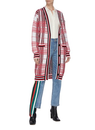 Figure View - Click To Enlarge - MONSE - Pin detail plaid long cardigan