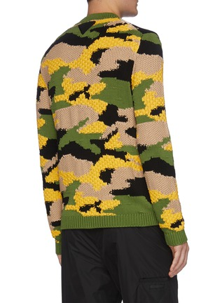 Back View - Click To Enlarge - PRADA - Camo print colourblock sweater