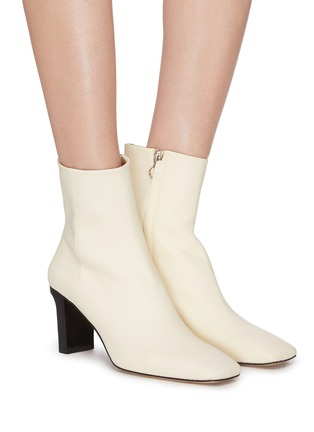Figure View - Click To Enlarge - AEYDE - 'Billy' square toe contrast heel boots