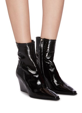 Figure View - Click To Enlarge - AEYDE - 'Lena' wedge leather ankle boots