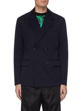 Main View - Click To Enlarge - PRADA - Notch lapel double breast gabardine jacket