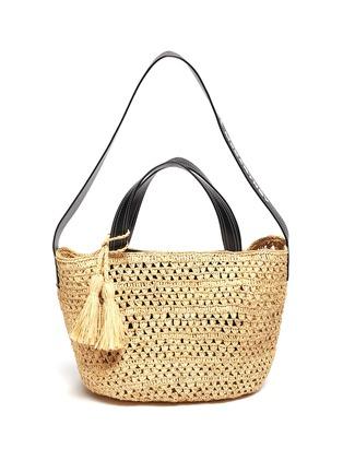 Main View - Click To Enlarge - STELLA MCCARTNEY - Crochet raffia bucket bag