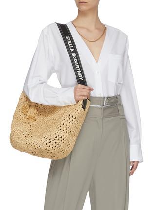 Figure View - Click To Enlarge - STELLA MCCARTNEY - Crochet raffia bucket bag