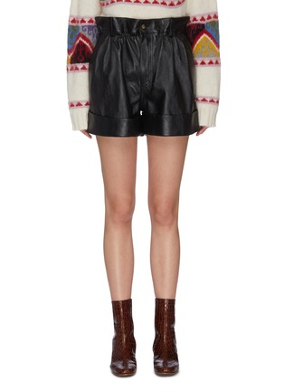Main View - Click To Enlarge - MIU MIU - High Waist Leather Shorts