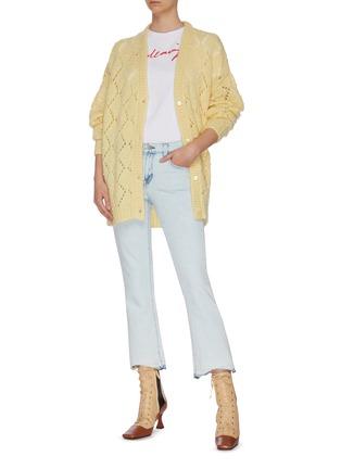 Figure View - Click To Enlarge - MIU MIU - Pearl Crochet Mohair Knit Cardigan