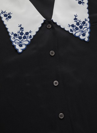 - MIU MIU - Floral Embroidery Lapel Puff Sleeve Blouse