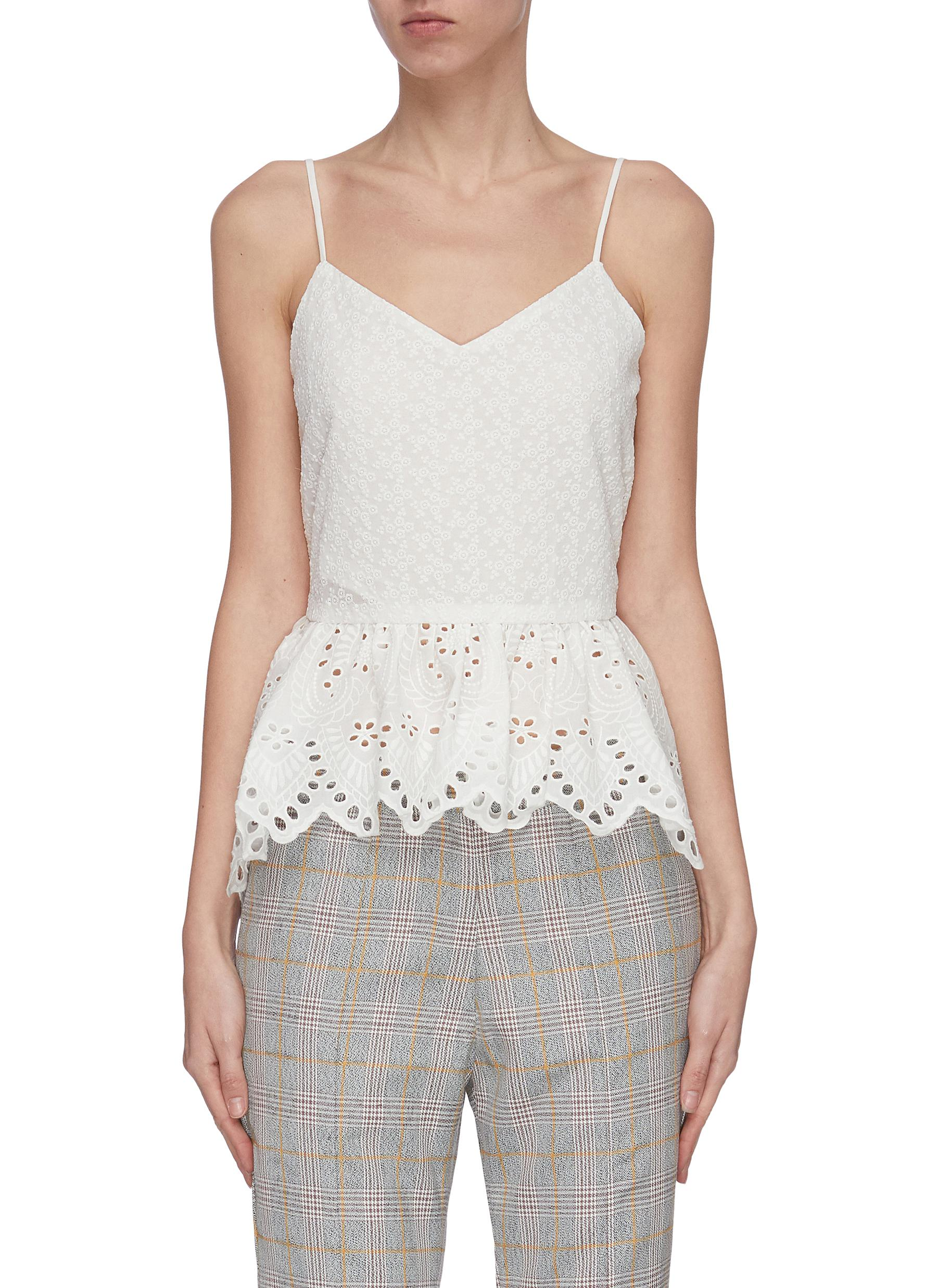 shop Jonathan Liang Cut out embroidered camisole top online