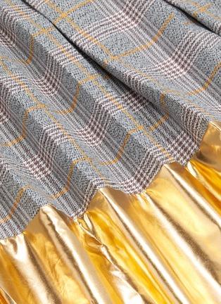 - JONATHAN LIANG - Metallic panel pleated check skirt