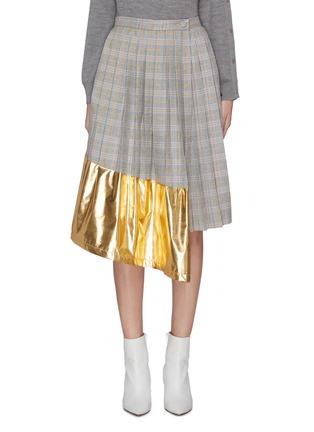 Main View - Click To Enlarge - JONATHAN LIANG - Metallic panel pleated check skirt