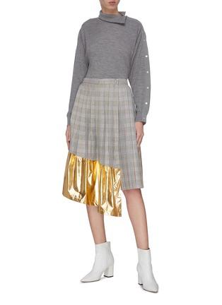 Figure View - Click To Enlarge - JONATHAN LIANG - Metallic panel pleated check skirt