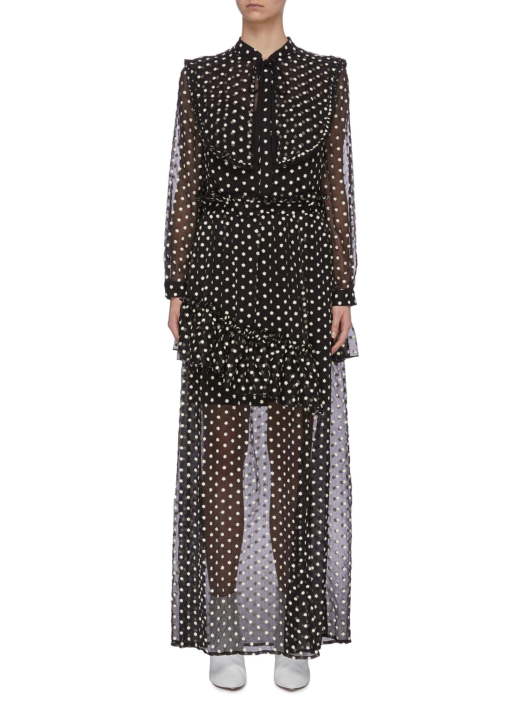 shop Jonathan Liang Sheer Polka Dot Dress online