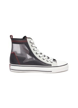 Main View - Click To Enlarge - ASH - 'Gasper' sheer panel high top lace up sneakers