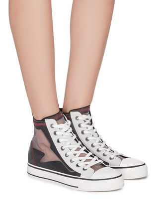Figure View - Click To Enlarge - ASH - 'Gasper' sheer panel high top lace up sneakers