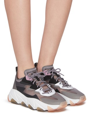 Figure View - Click To Enlarge - ASH - 'Eclipse' chunky outsole suede panel ripstop sneakers