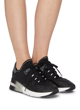 Figure View - Click To Enlarge - ASH - 'Krush Glitter' Knit Sneakers