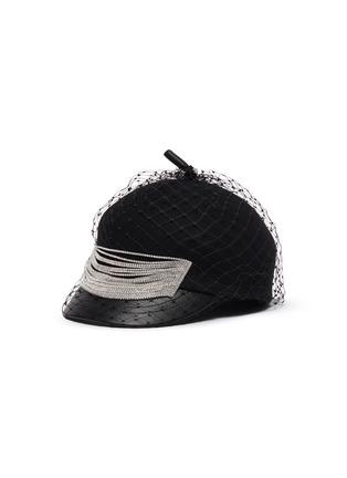 Main View - Click To Enlarge - VENNA - Embellished mesh veil felt beret