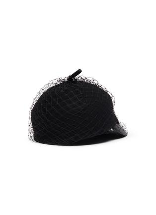 Figure View - Click To Enlarge - VENNA - Embellished mesh veil felt beret