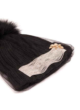 Detail View - Click To Enlarge - VENNA - Embellished mesh veil pom pom beanie
