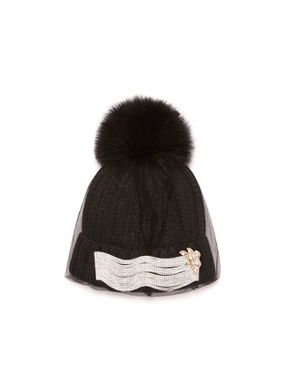 Main View - Click To Enlarge - VENNA - Embellished mesh veil pom pom beanie