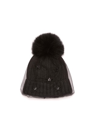 Figure View - Click To Enlarge - VENNA - Embellished mesh veil pom pom beanie