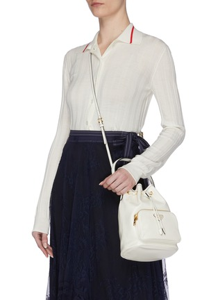 Front View - Click To Enlarge - PRADA - Drawstring leather clutch
