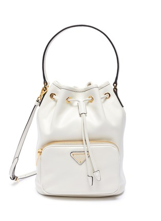 Main View - Click To Enlarge - PRADA - Drawstring leather bucket bag